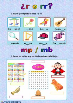 Interactive worksheet Ortografía r-rr - mp-mb