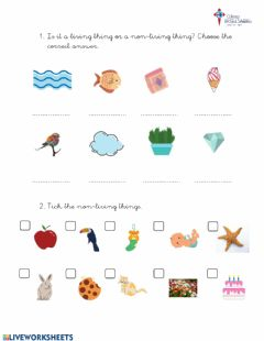 Interactive worksheet Living -Non-living things