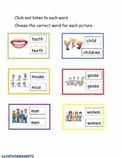 Interactive worksheet Plurals: Irregular Words