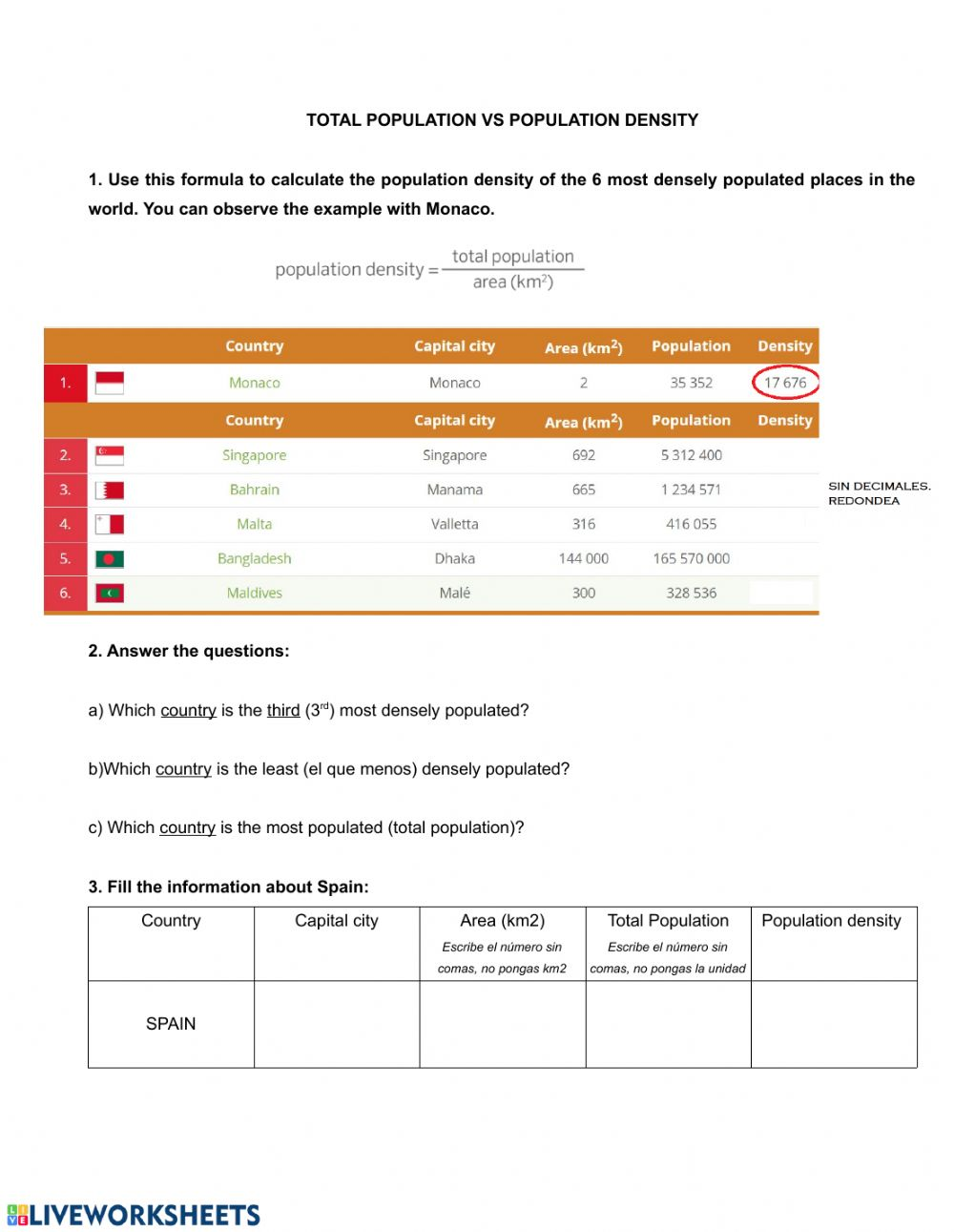 Population Density interactive worksheet With Regard To Density Calculations Worksheet Answer Key
