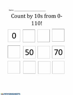 Interactive worksheet Count by 10s to 110