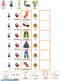 Interactive worksheet La ropa