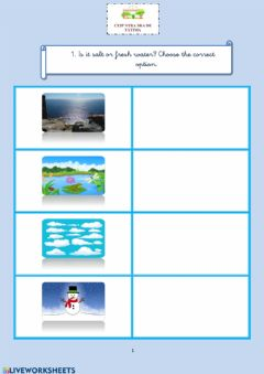 Interactive worksheet Salt and fresh water