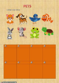 Interactive worksheet PETS LISTEN AND DROP