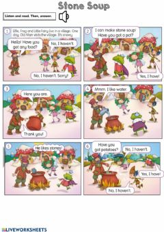 Interactive worksheet Stone Soup Story Comprehension