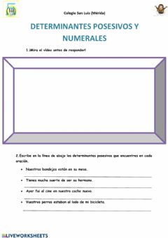 Interactive worksheet Determinantes posesivos y numerales