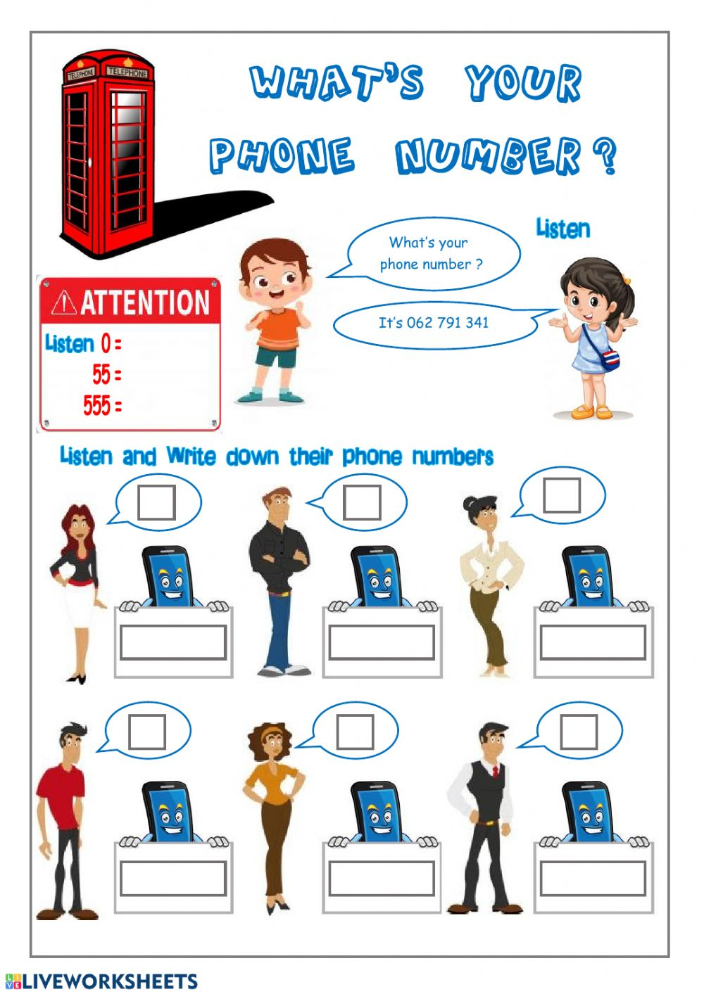 What's your phone number? worksheet
