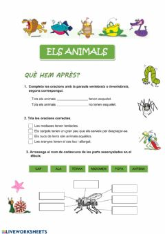 Ficha interactiva Els animals