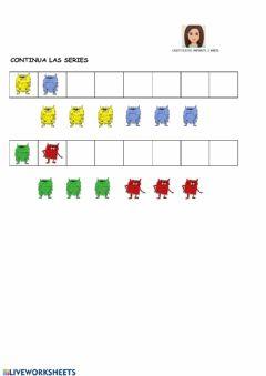 Interactive worksheet Series monstruos de colores
