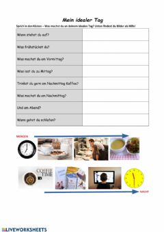 Interactive worksheet Mein idealer Tag