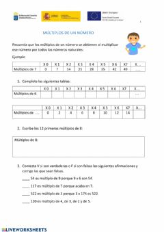 Interactive worksheet Cuadernillo Minimo Comun Multiplo