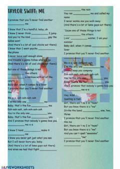 Interactive worksheet Taylor swift: me