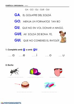 Interactive worksheet Vocabulari G- GU