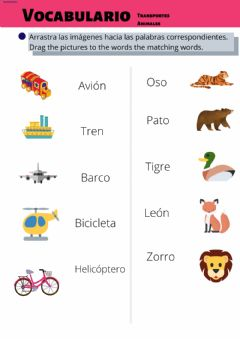 Ficha interactiva Vocabulario. Transportes y animales