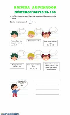 Interactive worksheet Hasta el 100 y familia del 100