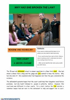 Interactive worksheet Reading Crimes - Teen Court.  A second chance