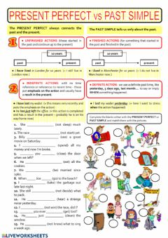 Interactive worksheet Present perfect simple or Simple past?