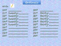 Ficha interactiva Ordinals 20-39 Writing