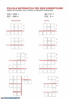 Interactive worksheet Pillola matematica con la prova