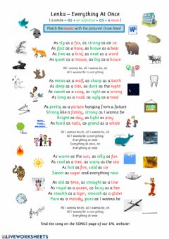 Interactive worksheet Lenka: Everything at Once (The Similes Song)