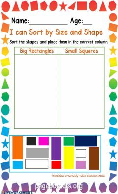 Interactive worksheet Classification of size and shape