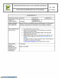 Interactive worksheet Wh-questions