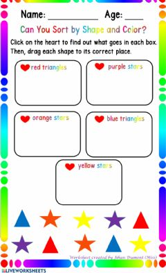 Interactive worksheet Sorting by Color and Shape
