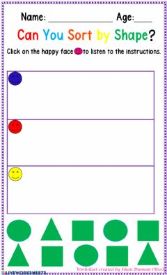 Interactive worksheet Classification by Shape