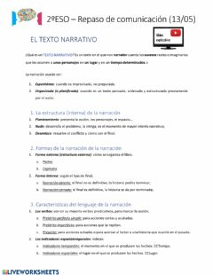 Interactive worksheet La narración y la descripción