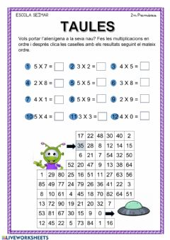Interactive worksheet Taules 3