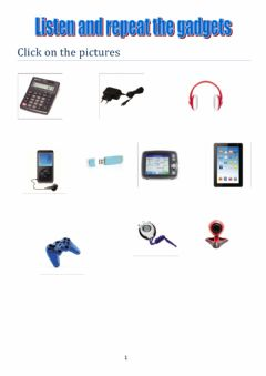 Interactive worksheet Listen and repeat the gadgets