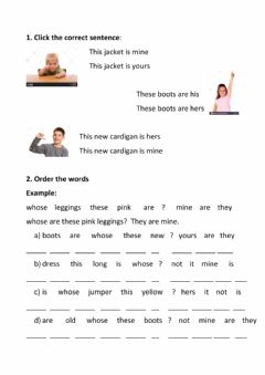 Interactive worksheet Clothes. Possessives