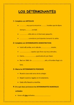 Interactive worksheet Los determinantes