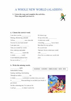 Interactive worksheet A whole new world (Aladdin song)