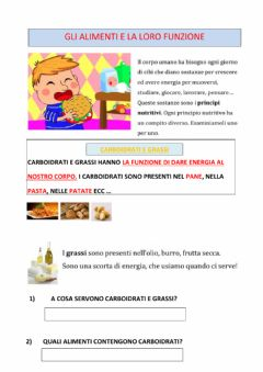 Interactive worksheet L'alimentazione