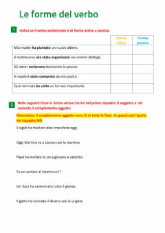 Interactive worksheet Le forme del verbo
