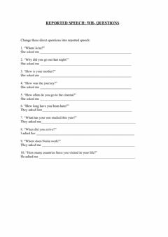 Interactive worksheet Reported speech: questions