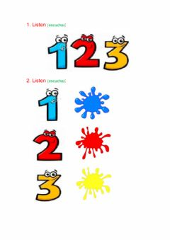 Interactive worksheet Colours and numbers 1-3