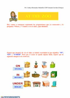 Interactive worksheet Prepositions in, on and under