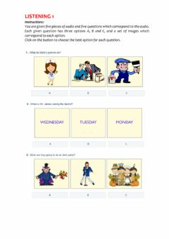 Interactive worksheet Listening KET