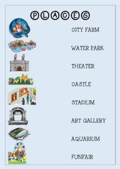 Interactive worksheet Places to visit