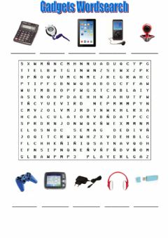 Ficha interactiva Gadgets Wordsearch