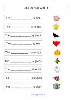 Interactive worksheet Listen and write the colours