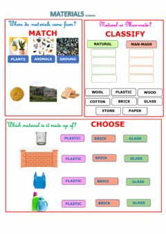 Interactive worksheet Natural and man-made materials