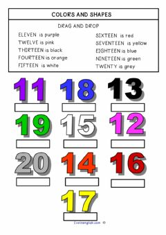 Interactive worksheet Colour and Numbers in English