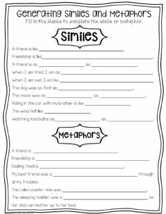 Interactive worksheet Similes & Metaphors