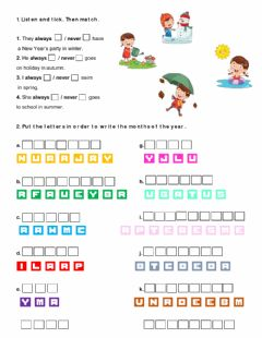 Ficha interactiva Months and adverbs