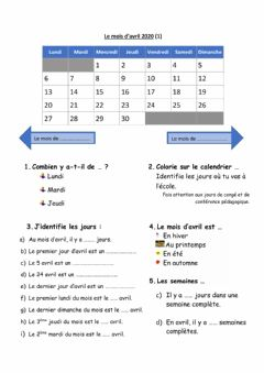 Interactive worksheet Le mois d'avril à Viamonde