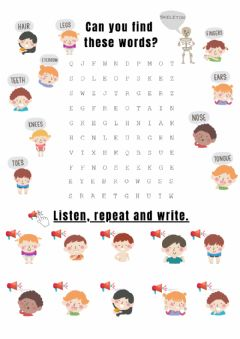 Interactive worksheet Parts of the body wordsearch
