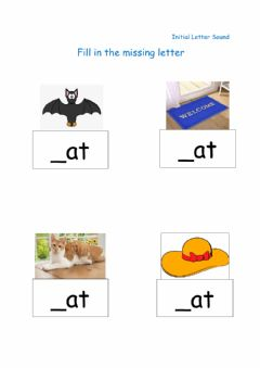 Interactive worksheet Fill in Missing Letter - Initial